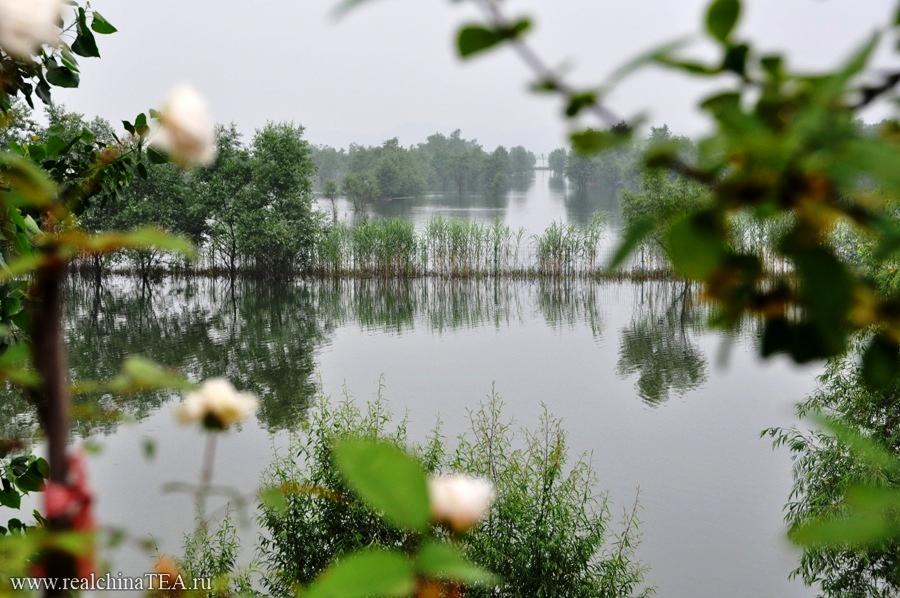 Весной тут сезон дождей. Погода хмурая, черно-белая, а уровень воды в озере сильно пляшет.