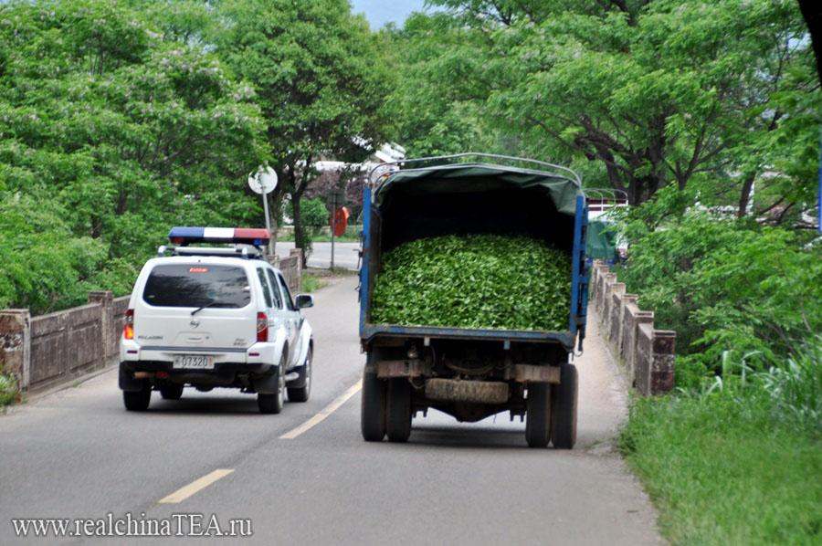 Грузовик с чайным листом Дахунпао спускается с плантаций