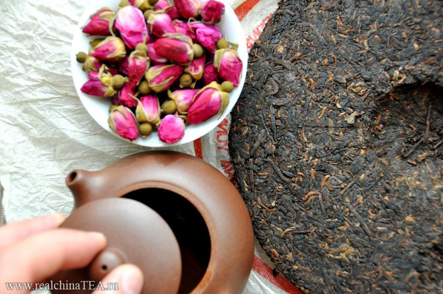 Заваривая китайскую розу вместе с Пуэром, вы получите совершенно новые ощущения. Новый вкус, аромат и послевкусие. Это прикольно. Попробуйте!