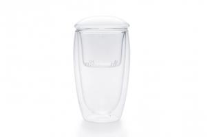 Фото Большой стеклянный стакан-заварочник, выполненный по технологии двойных стенок